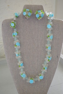 Blue Flowers Necklace Set, Demi-Parure, Vintage Jewelry, Flower Jewelry