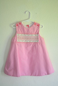 Pink Gingham Smocked Dress, Smocking, Smocked Clothes, Pink and White Dress, Girl's Dress