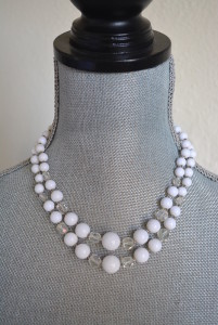 Clear and White Beaded Necklace, 2-Stranded Necklace,White Necklace,White Beaded Necklace