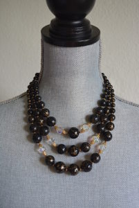 Black Splatter Painted Necklace, Black Beaded Necklace, Black Necklace, Vintage Beaded Necklace