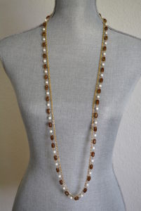 Brown and White Necklace, Long Necklace, Vintage Long Necklace, Gold and Brown and White Beaded Necklace, Tortoise Necklace