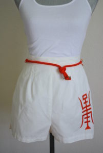 White Oriental Shorts, Vintage Shorts, Vintage Clothes, White Shorts, White and Red Shorts, Oriental Shorts, Junior House, Junior House Milwaukee