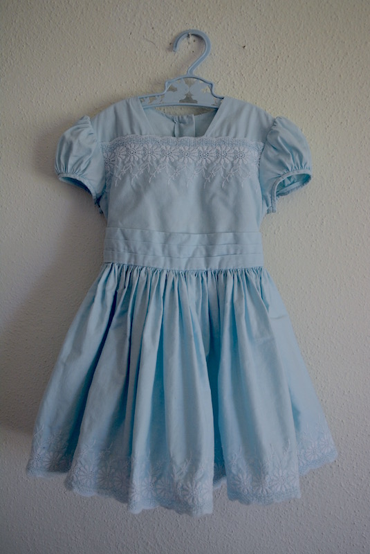 Girl's Blue Embroidered Dress, Vintage Clothes, Kid's Vintage Clothes, Vintage Dress, Girl's Dress, Girl's Vintage Dress
