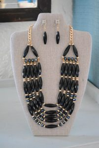 Black Beaded Necklace Set, Black Jewelry, Black Necklace and Earrings, Necklace and Earrings, Black and Gold Jewelry