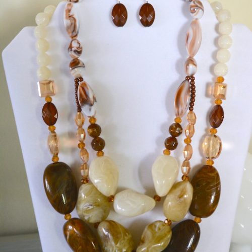 Browns Beaded Necklace Set, Brown Jewelry, Necklace and Earrings