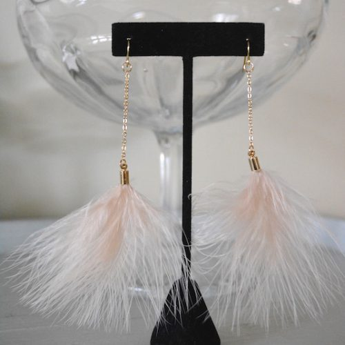 Blush Feather Earrings, Feather Earrings, Pink Feather Earrings, Blush Earrings, 1970s Jewelry, Boho Jewelry