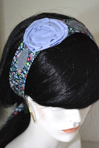 Blue Flower Headband, Fabric Flower Headband