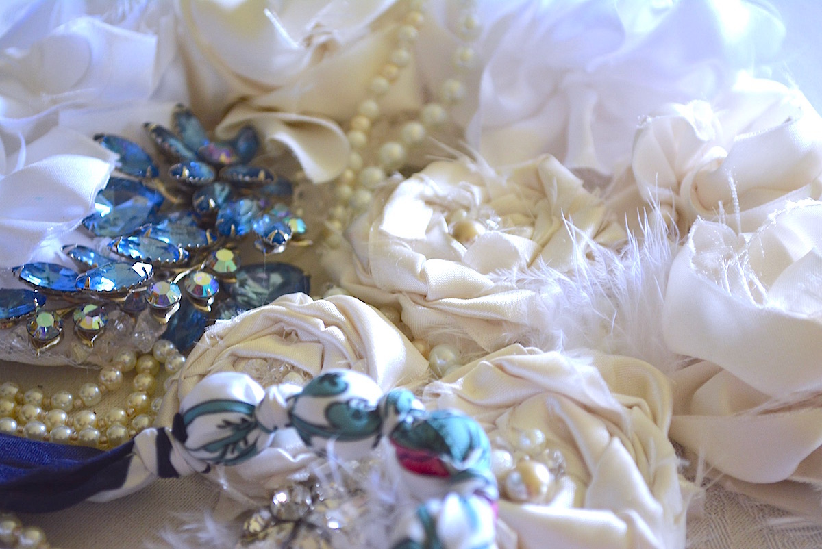 Handmade Jewelry, Fabric Flower, Vintge Materials, Repurposed Jewelry, Handmade Accessories