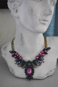 Dark Green Necklace, Bib Necklace, Pink Jewelry, Green Necklace, Amethyst Necklace, Statement Necklace,