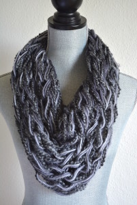 Grey Infinity Scarf, Grey Scarf, Ombre Grey Scarf, Knitted Scarf
