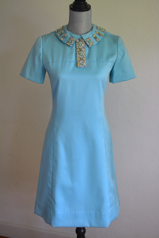 Jeweled Blue Dress, Vintage Dress, Vintage Clothes, Blue Dress, Retro Clothes