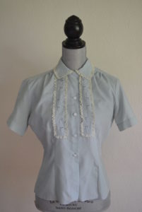 Blue Blouse, The Pilot Blouse, Vintage Clothes, Vintage Blouse, Blue and Lace Top, Vintage Blue Top