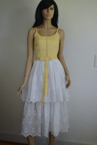 Eyelet Sundress, Eyelet Dress, Vintage Clothes, Vintage Dress, Vintage Sundress, Yellow and White Dress